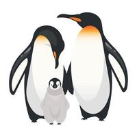 Emperor penguins flat color vector illustration
