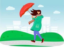 mujer en impermeable color plano ilustración vectorial vector