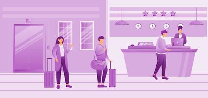 Ilustración de vector plano de recepción de hotel