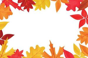 Autumn background frame with colored falling leaves vector