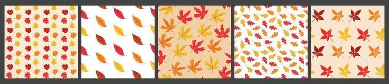 Vector set of 4 seamless pattern of falling leaves BackgrounD