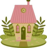 Fairytale house surrounded by grass. Vector flat illustration.