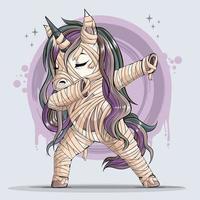 divertido momia unicornio haciendo dabbing dance dab movimiento vector