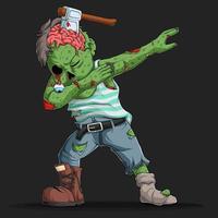 zombie haciendo dabbing dance con un cuchillo en la cabeza vector