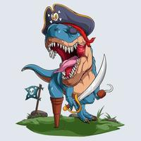 Scary pirate dinosaur t-rex roaring for halloween party vector