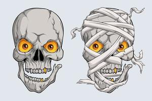 Halloween realistic scary mummy skulls face, Egyptian mummy head vector
