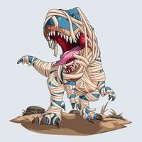 Scary mummy dinosaur trex roaring for halloween party vector
