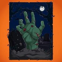 concepto de fiesta de halloween con murciélagos y árboles de luna llena de mano zombie vector
