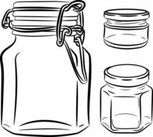 Glass jar. Jar drawing, doodle style, sketch. A jar with a lid vector
