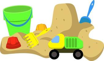 A set of toys for children a sandbox and a playground, a small bucket vector