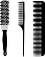 Hairdressing combs. A barber's tool. Combs for hair styling. vector