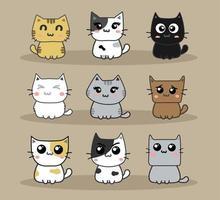 cute cats cartoon set vector