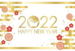 2022, año del tigre, tarjeta de felicitación con patrones japoneses vintage. vector