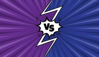 Comic VS background with purple and blue vector