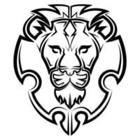 Black and white line art of the front of the lion head vector