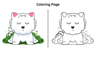 cute cat with coloring page vector