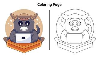 cute cow with coloring page vector