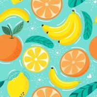 Seamless pattern  fruits, Orange, Banana, Lemon and leaf vector