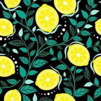 Seamless pattern lemon. Slices of citrus and leaf on black background vector