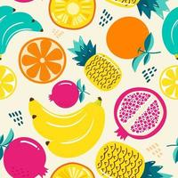 Seamless pattern  fruits, Orange, Banana, Pomegranate, Pineapple vector