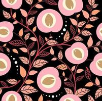 Seamless pattern peach fruits and leaf on black background vector