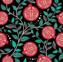 Seamless pattern  pomegranate fruits, Seed with leaf vector