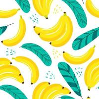 Seamless pattern banana and leaf on white background vector