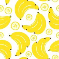 Seamless pattern banana fruits isolate on white background vector
