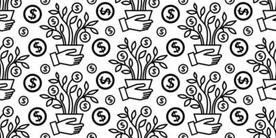 money tree seamless background wealth finance business vector
