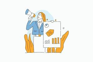 business woman promoting  drawn illustration vector