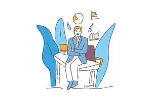 businessman sit hand drawn illustration vector