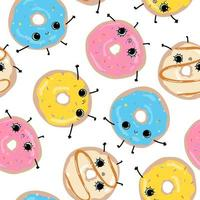 White pattern with cute funny happy glazed donuts Hand drawn faces vector