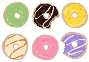 Set of donuts in glaze on an isolated collection Decorations cafe vector