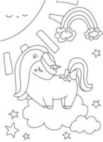 Cute coloring book with unicorn star rainbow sun in clouds on isolated vector
