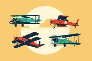 Set of Biplane or Aircraft Attractions vector