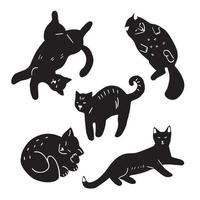 Set of doodle cats in different poses vector