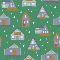 Houses and raindrops seamless pattern vector