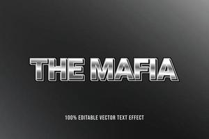 el texto editable del efecto de texto 3d de la mafia con textura cromada vector