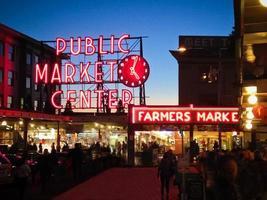 Pike Place market at night photo