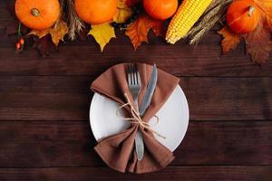 Festive table setting for Thanksgiving photo