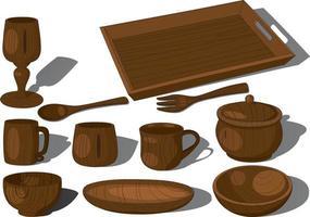 Wooden tableware utensil collection vector illustration
