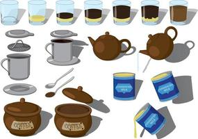 Vietnamese phin coffee step-by-step making vector illustration