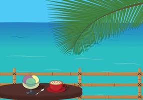 Dessert and coffee at a table by the sea vector