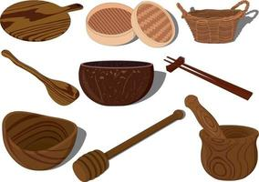 Wooden kitchen accessories and tableware vector illustration set