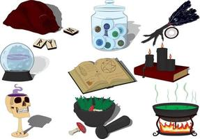 Witchcraft witchs hut items collection vector illustration