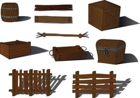 Wooden board items collection vector illustration
