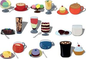 Vector iilustration set of pairs sweet desserts and drinks