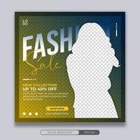 plantilla de banner cuadrado de publicación de redes sociales de venta de moda vector