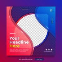 elegante plantilla de publicación de redes sociales azul rojo con marco de fotos vector