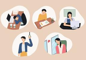 People sleeping with tired faces in various places. vector